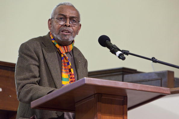 Amiri Baraka speaks and reads poetry at Dillard University on March 25, 2010 in New Orleans, Louisiana. (Photo by Skip Bolen/WireImage)