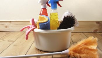 Bowl of cleaning products and feather duster on wooden floor