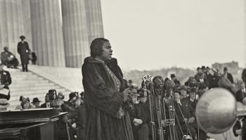 Marian Anderson (1897-1993) African American contralto singing at the Lincoln Memorial, Washington, Easter Sunday, 1939.