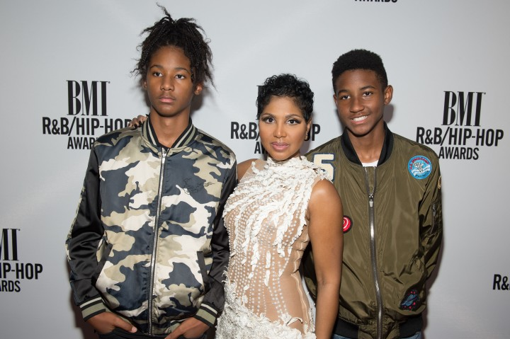 Toni Braxton with sons Denim and Diezel at 2016 BMI R&B/Hip-Hop Awards