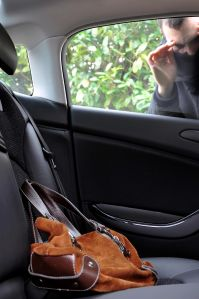 View of a man looking at a bag in a car.