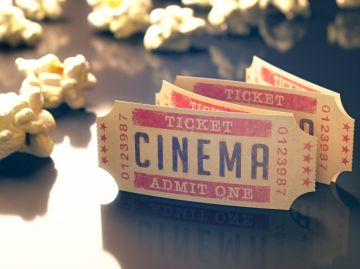 Cinema tickets and popcorn, illustration