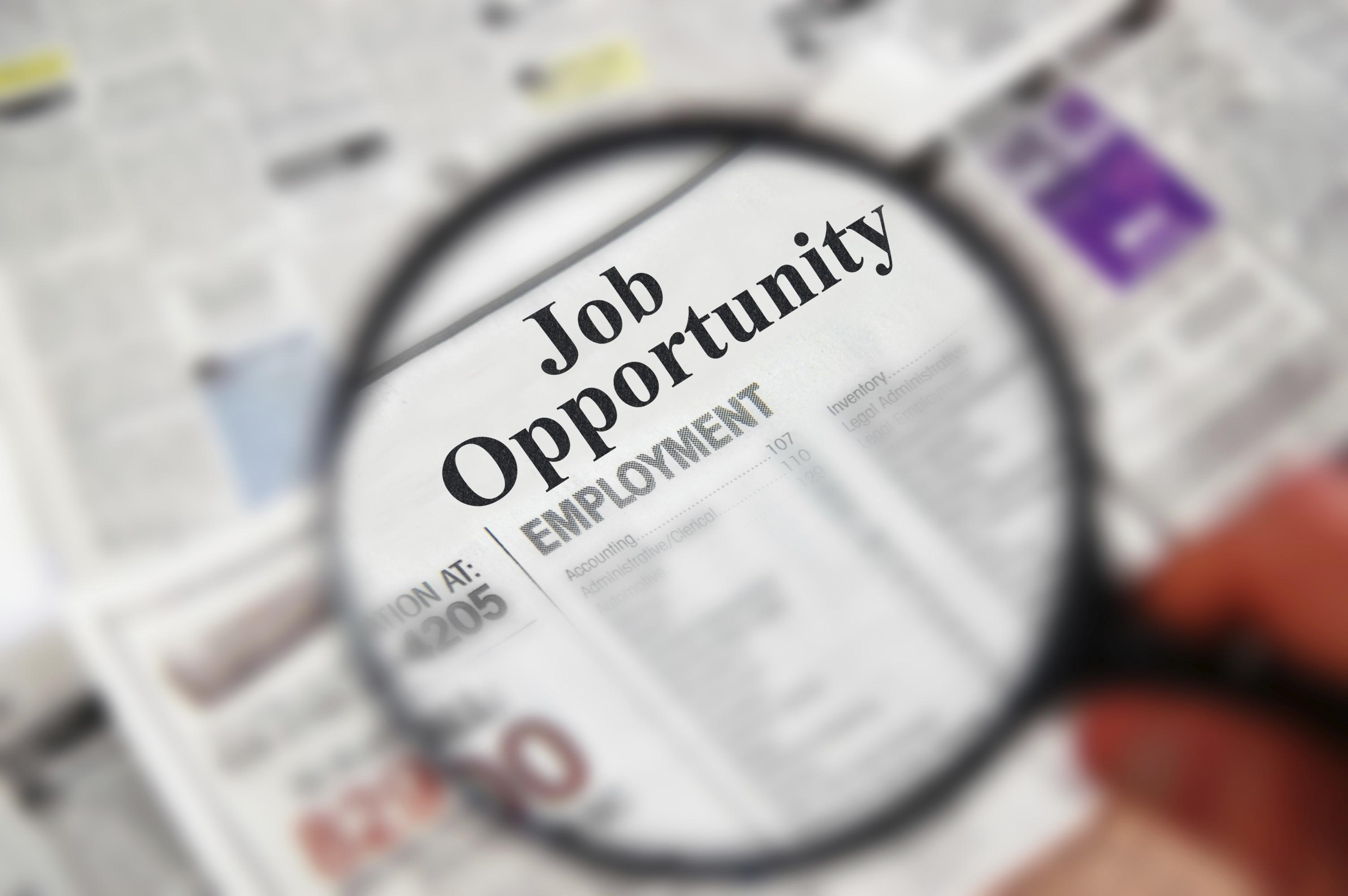"Magnifying glass over a newspaper classified section with ""Job Opportunity"" text"