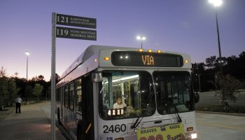 A MARTA bus at night.