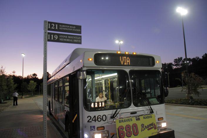 A MARTA bus at night.