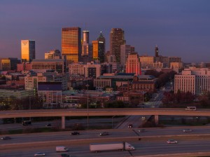 Atlanta cityscape and city street at dusk
