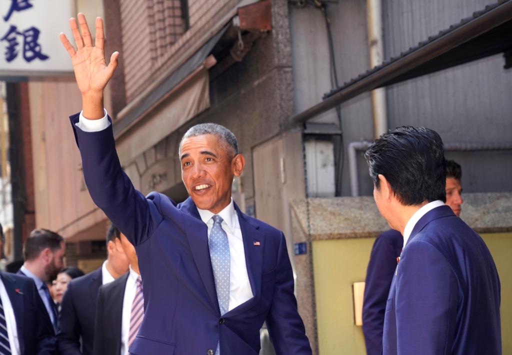 Former U.S. President Barack Obama Meets Japanese Prime Minister Shinzo Abe