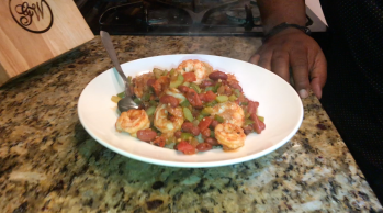 Shrimp Creole on A Bed of Rice Cauliflower