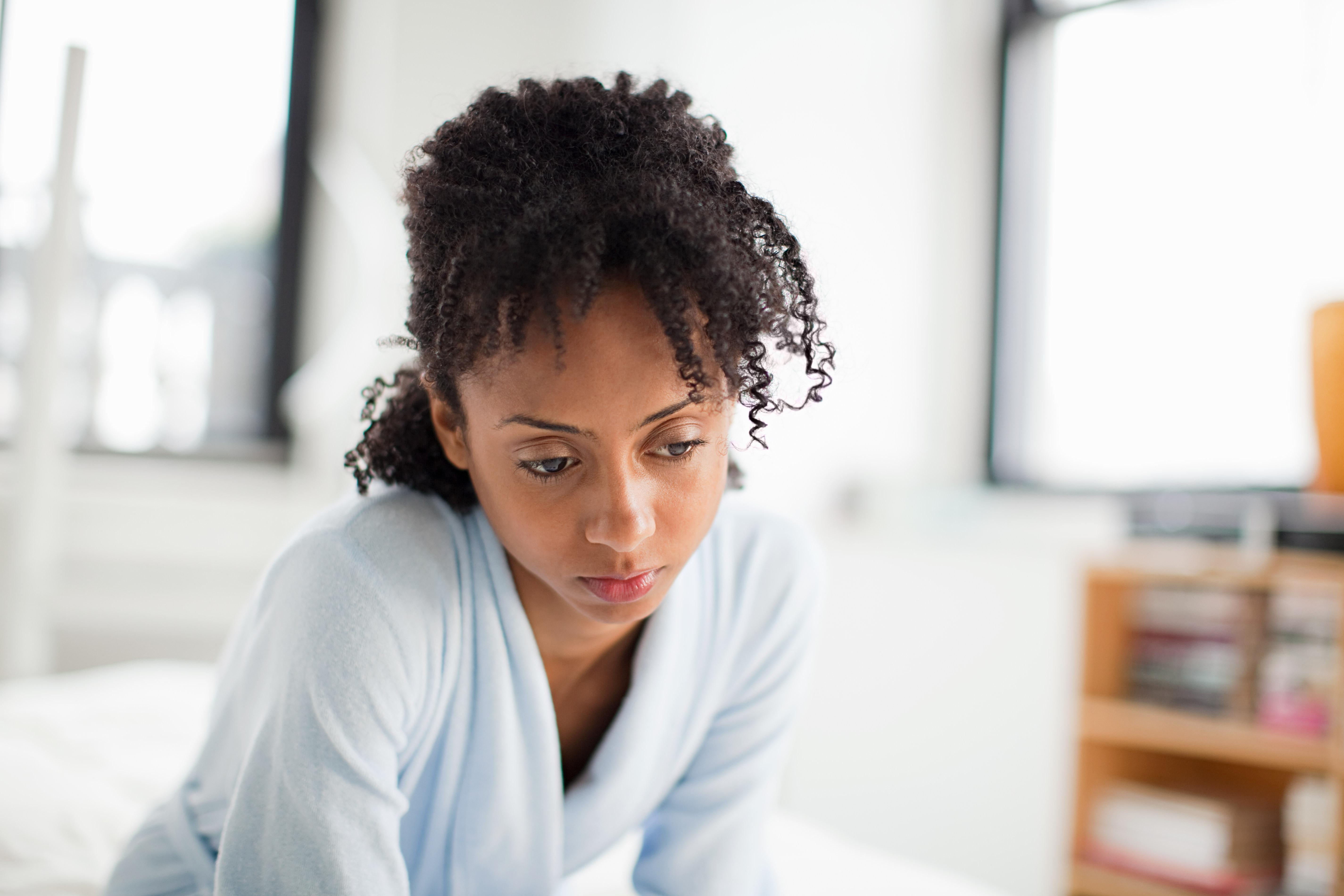 Woman looking depressed