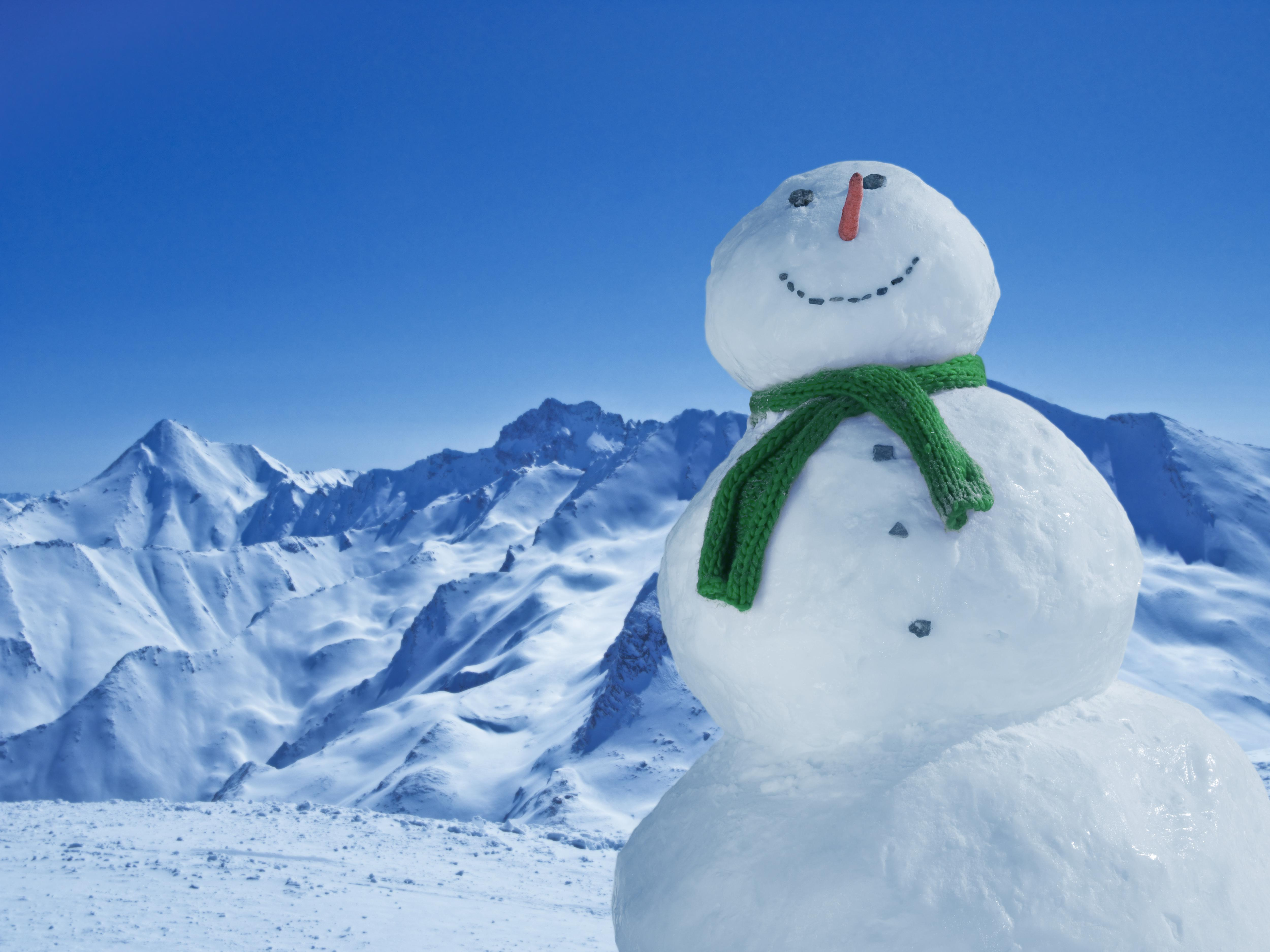 Smiling Snowman in Mountains near Ischgl, Austria